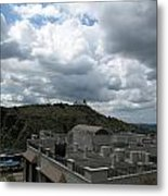 Buildings Cover The Lower Section Of A Hill That Has A Temple At The Top With Clouds Covering The Sk Metal Print