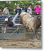 Bull 1 - Rider 0 Metal Print by Sean Griffin