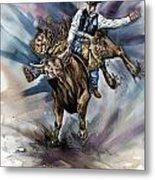Bull Bucking His Rider Metal Print