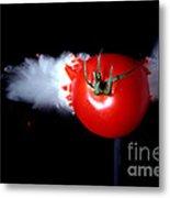 Bullet Hitting A Tomato Metal Print