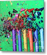 Bullet Hitting Crayons Metal Print