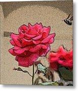 Bumble Bee And Rose Metal Print