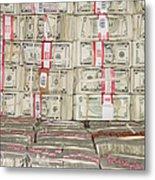 Bundles Of Five Dollar Bills Metal Print by Adam Crowley
