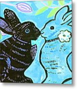 Bunnies In Love Metal Print by Patricia Lazar