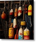 Buoys On Fishing Shack - Greeting Card Metal Print