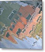 Burano House Reflections Metal Print