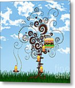Burger Tree House And The Cupcake Kids  Metal Print