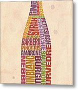 Burgundy Wine Word Bottle Metal Print by Mitch Frey