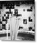Burning Incense Joss Sticks In Columbarium Po Fook Hill Cemetery Sha Tin New Territories China Metal Print by Joe Fox