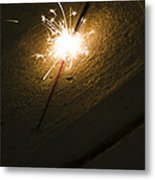 Burning Sparkler On Sidewalk At Night Metal Print