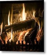 Burning Wood On An Open Fire Metal Print