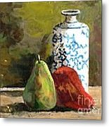Burnished Pears With Vase Metal Print