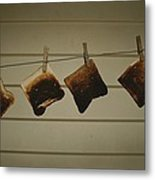 Burnt Toast Hanging On Clothesline Metal Print