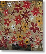 Burst Of Flowers Yellow And Red Metal Print