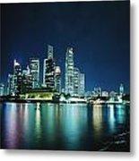 Business District Skyline At Night Metal Print