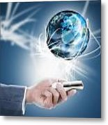 Businessman Holding Mobile Phone With Globe Metal Print