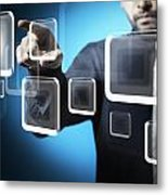 Businessman Touching Screen Button Metal Print