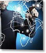 Businessman Touching World Map Screen Metal Print by Setsiri Silapasuwanchai