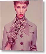 Businesswoman Holding Glasses And Chequebook, Portrait Metal Print by Hulton Archive
