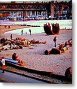 Busy City Beach Metal Print