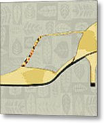 Butter Yellow Leather T Strap Heel Metal Print