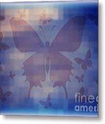 Butterflies In Blue Metal Print