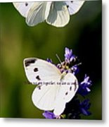 Butterfly - Cabbage White - As One Metal Print