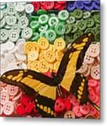 Butterfly And Buttons Metal Print