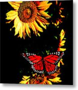 Butterfly And Sunflower Metal Print