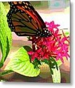 Butterfly Flowers Metal Print