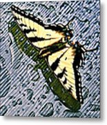 Butterfly In Rain Metal Print