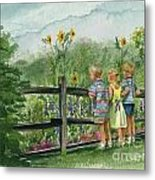 By The Garden Fence  Metal Print