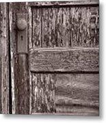 Cabin Door Bw Metal Print