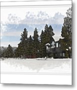 Cabin In Snow With Mountains In Background Metal Print