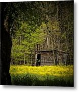 Cabin In The Flowers Metal Print