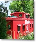 Caboose In The Trees Metal Print