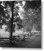 Cades Cove Tennessee In Black And White Metal Print