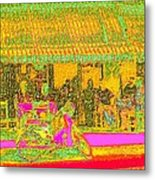 Cafe In Van Gogh Bright Style Metal Print