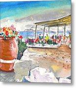 Cafe On Agios Georgios Beach Metal Print