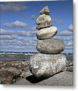 Cairn At North Point On Leelanau Peninsula In Michigan Metal Print