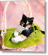Calico Kitty In Basket Metal Print