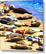 California Sunbathers . Harbor Seals Metal Print by Wingsdomain Art and Photography