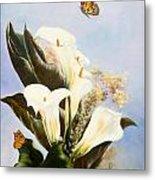 Callas And Butterflies Metal Print