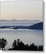 Calm Sea At Sunset In A Fjord In Northern Norway Metal Print