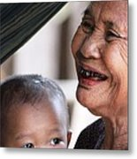 Cambodian Grandmother And Baby #2 Metal Print