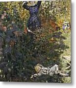 Camille And Jean In The Garden At Argenteuil  Metal Print