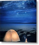 Camping Tent By The Lake At Night Metal Print