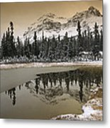 Canadian Rocky Mountains Dusted In Snow Metal Print