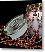 Candle And Beads Metal Print by Carolyn Marshall