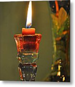 Candle And Colored Glass Metal Print